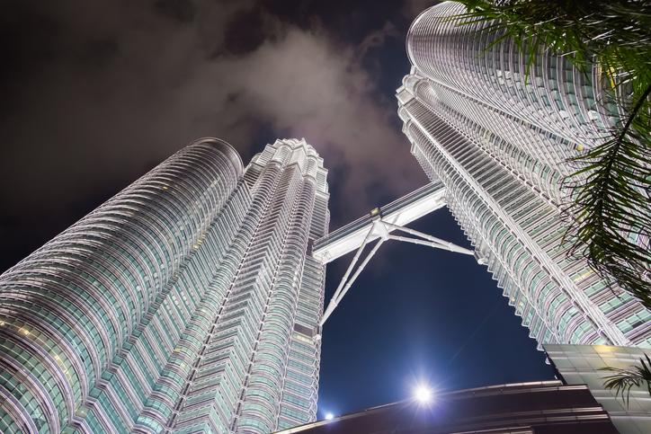 Kuala Lumpur, Malaysia - February 29, 2016: Night scene of Petronas twin towers, The famous landmarks of Malaysia.