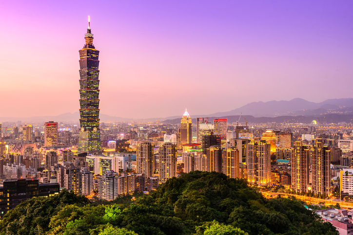 Taipei, Taiwan city skyline at twilight.