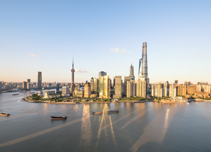 shanghai skyline and huangpu river in a beautiful sunny scene