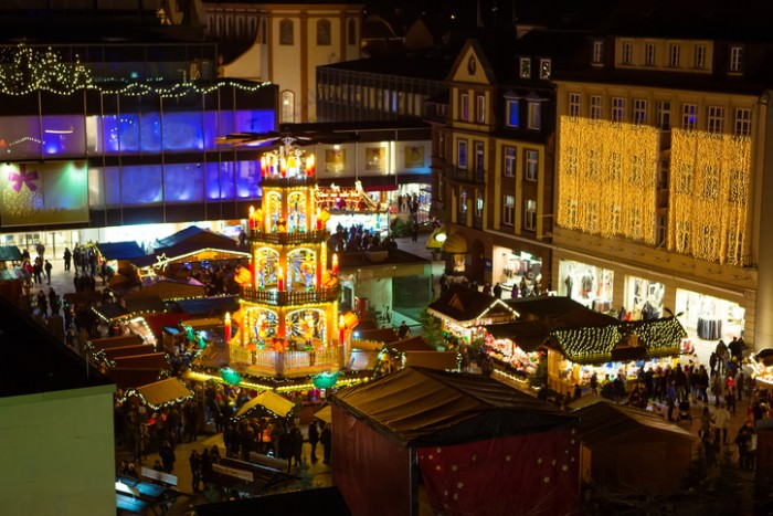 Traditional christmas market in the historic center of Nuremberg, Germany
