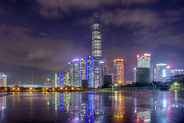 Shenzhen CBD business district at night,including PAFC,the higheset building in Shenzhen.