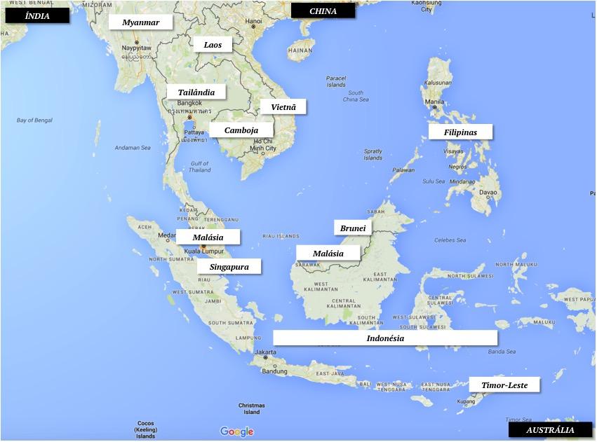 O Sudeste Asiático no mapa | Créditos: Google Maps
