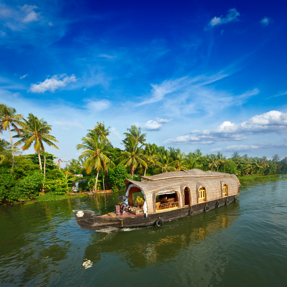 """Houseboat on Kerala backwaters. Kerala, IndiaSee more images from India in my"""