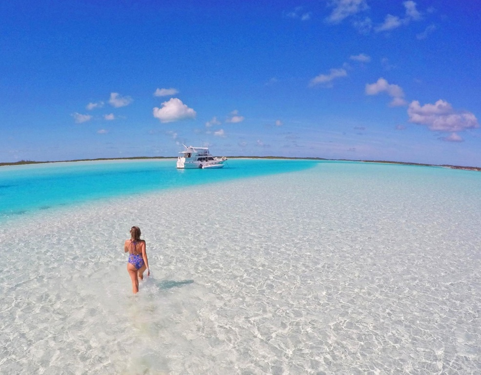 Banco de areia em Exuma Cays, Bahamas | Créditos: Lala Rebelo
