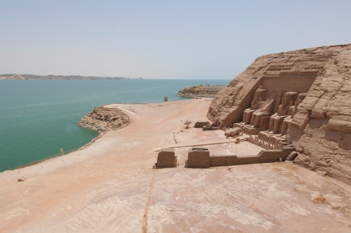 Panoramic view over the Temple of Ramses II at Abu Simbel with Lake Nasser