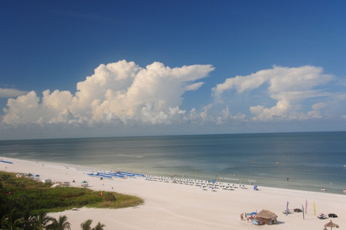 Panoramic view of the Gulf of Mexico from a motel balcony in Marco Is., Florida. Taken with ultra wide angle (11-16 mm) lens and a polarizing filter.