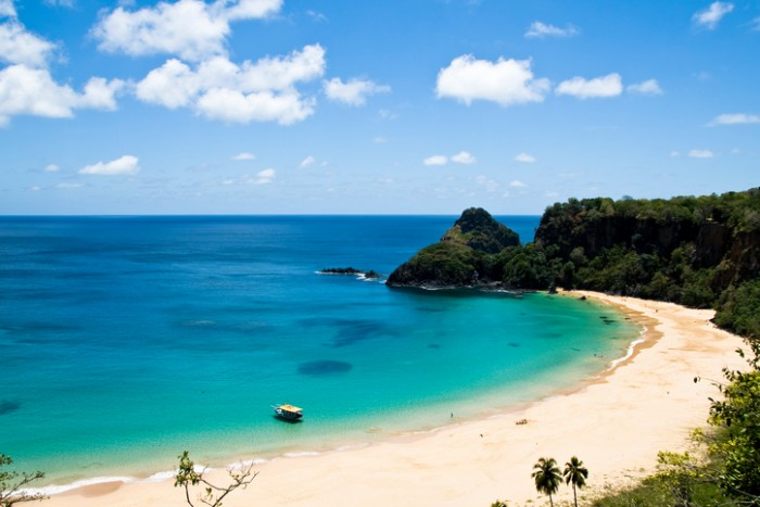 Sancho Bay Beach in Fernando de Noronha. This is an archipelago off the coast of Brazil.
