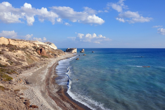 Aphrodite, the goddess of love and beauty, daughter of Zeus, born here in sea waves. Petra Tou Romiu or Aphrodite Rock.