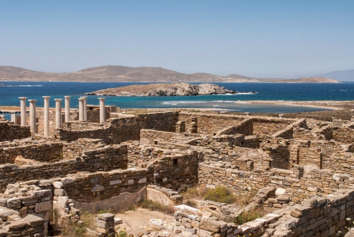 Archaeological site on the island of Delos, Greece (Cyclades islands)