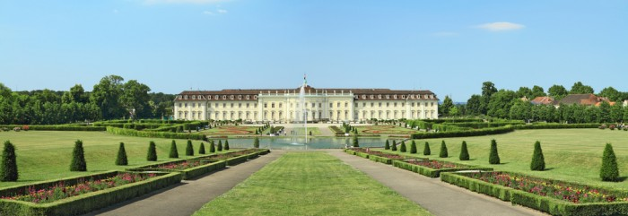 Ludwigsburg, Germany - June 2, 2011: Ludwigsburg Palace and its gardens on a sunny summer day