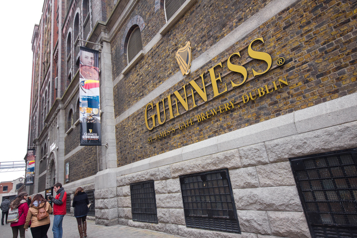 Dublin, Ireland - April 1, 2013:  Visitors at The Guinness Storehouse Brewery at St. James Gate, Dublin Ireland on April 1, 2013.  Guinness brewery  was founded in 1759 in Dublin, Ireland, by Arthur Guinness