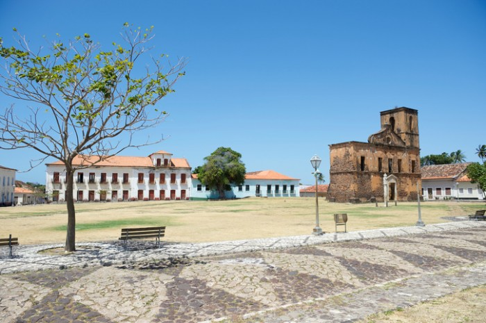 Matriz Plaza and ruins of the Sao Matias church in Alcantara Brazil built in the 17th century during the height of the slave trade