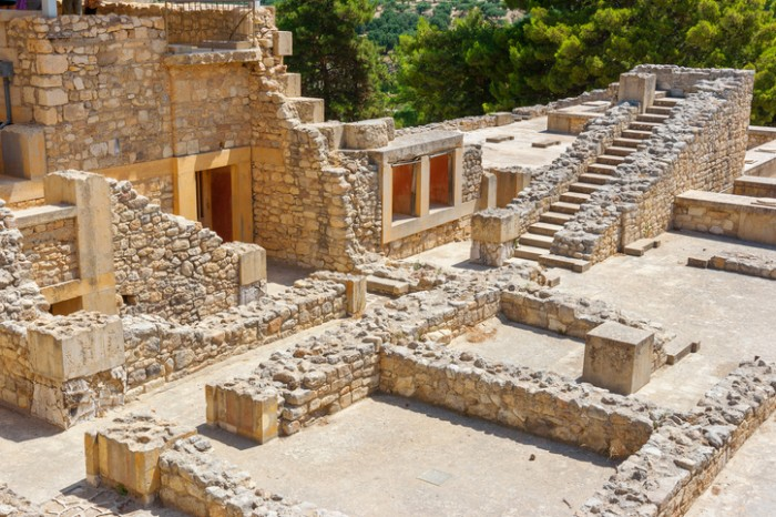 Ruins of the Minoan Palace of Knossos. Heraklion, Crete, Greece, Europe
