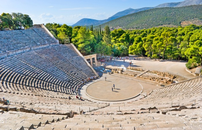 The stone amphiteater in Epidaurus is the fine example of the ancient greek architecture, Epidavros, Greece.