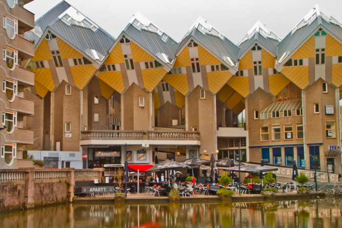 Rotterdam,Netherlands- 18 October .2013:Cubic Houses in Rotterdam.The houses in Rotterdam are located on Overblaak Street, and beside the Blaak Subway Station. There are 38 small cubes and two so called 'super-cubes', all attached to each other.
