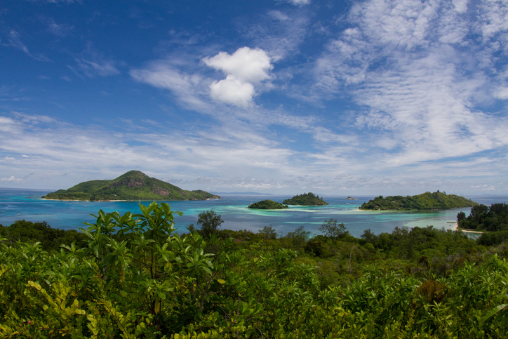 The St Anne Marine National Park in Seychelles, as viewed from Cerf Island.