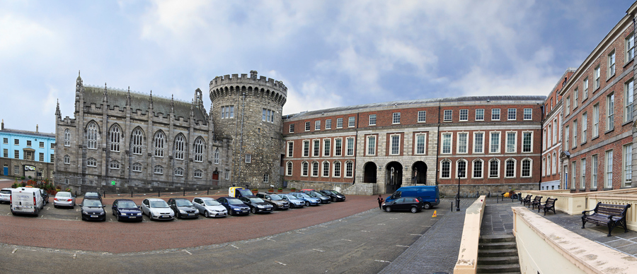 Dublin, Ireland - August 20, 2014: Panorama Dublin Castle - historic landmark of Irelands capital