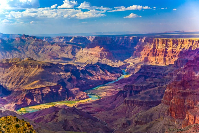 Grand canyon at sunrise with river Colorado