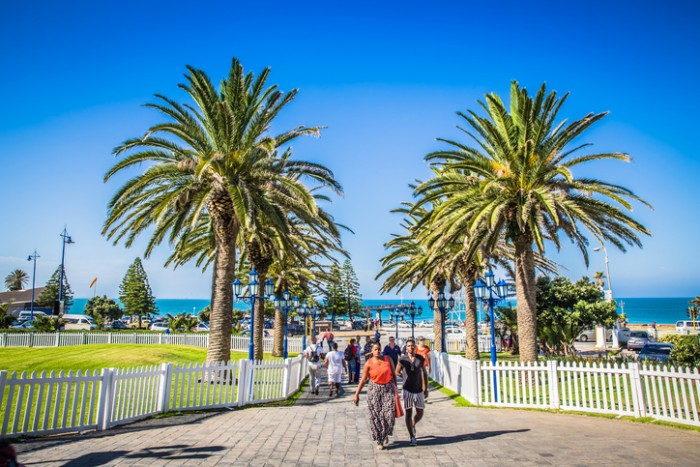 Port Elizabeth, South Africa - January 25, 2015: Look at the people walking at Boardwalk Hotel of Port Elizabeth