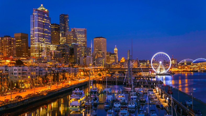 After sunset in downtown Seattle tourist area and marina