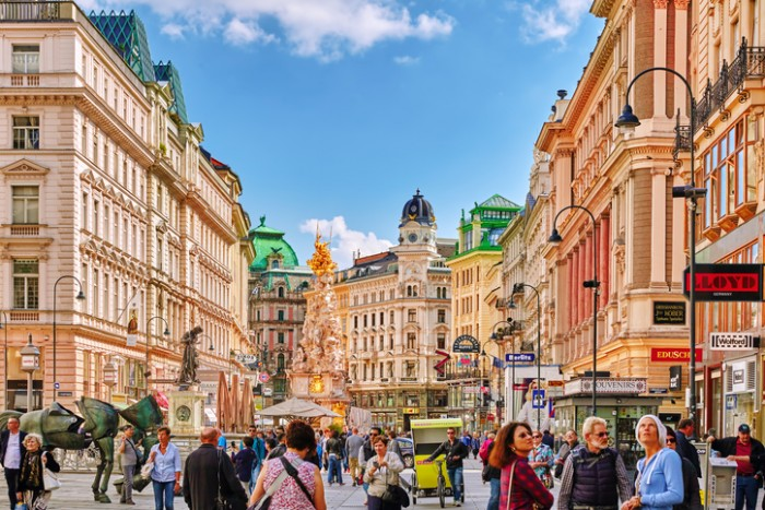 Vienna, Austria - September 10, 2015: Cityscape  views of one of Europe's most beautiful town- Vienna. Peoples on streets, urban life Vienna. Austria