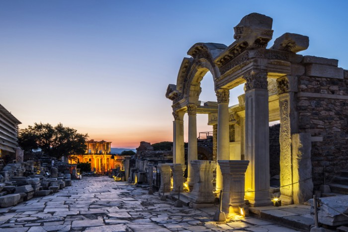 Ephesus  was an ancient Greek city on the coast of Ionia, three kilometres southwest of present-day Selçuk in İzmir Province, Turkey.