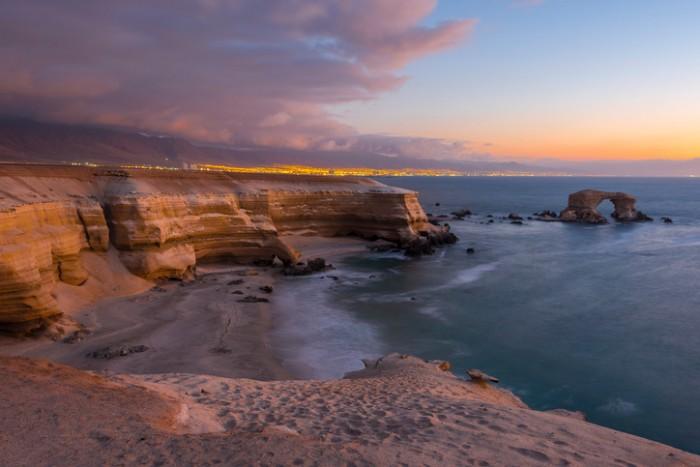 'La Portada' Natural Monument at sunset, Antofagasta (Chile)