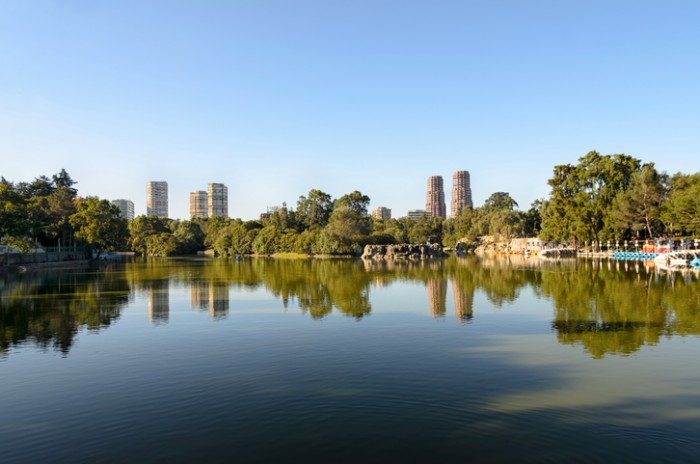 View to the lake and skyscrapers in Chapultepec park