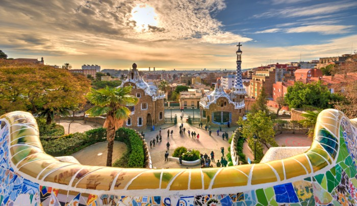 A dream village in Barcelona designed by the architect Gaudi.