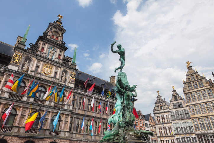 Antwerp's Town Hall and the fountain in front.