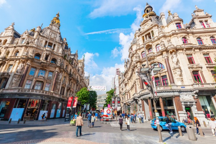 Antwerp, Belgium - September 03, 2015: shopping street in Antwerp with unidentified people. Antwerp is the capital of Antwerp province and with a population of 510,610 the most populous city in Belgium