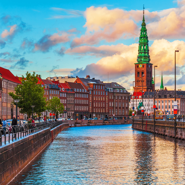 Scenic summer sunset in the Old Town of Copenhagen, Denmark. Visit also lightbox of high quality photos of Scandinavia: