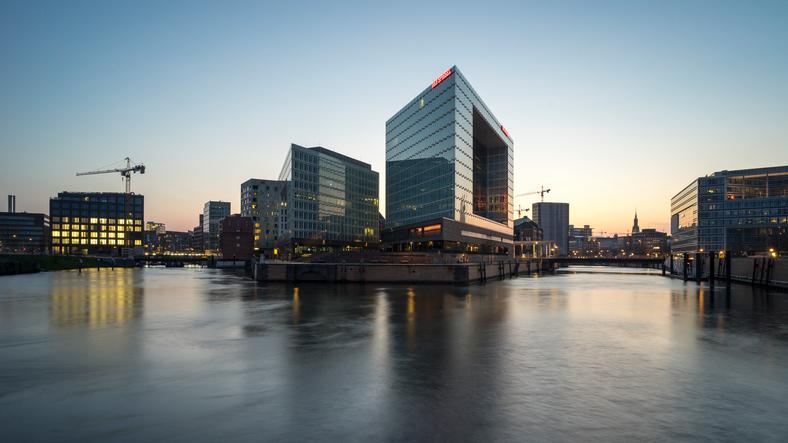 Hamburg, Germany - April 10, 2016: Der Spiegel magazine office in Hamburg., at evening.