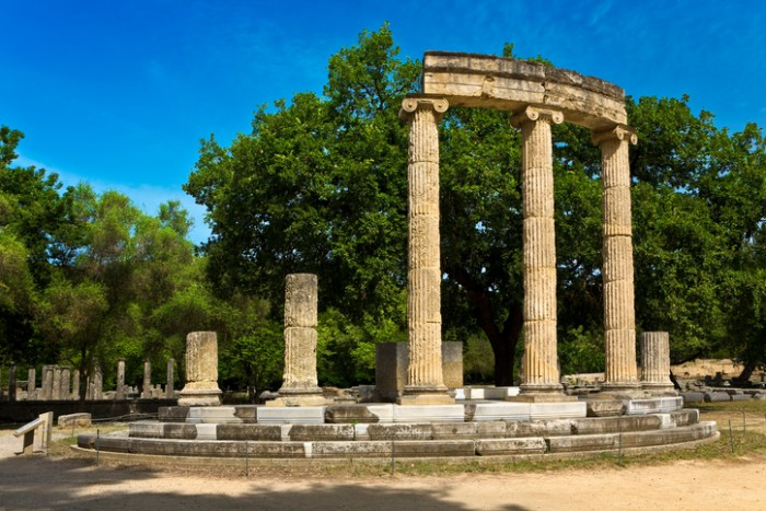 Greece. Archaeological Site of Olympia. Ruins of the Philippeion (4rth century BC). The archaeological site of Olympia is on UNESCO World Heritage List since 1989