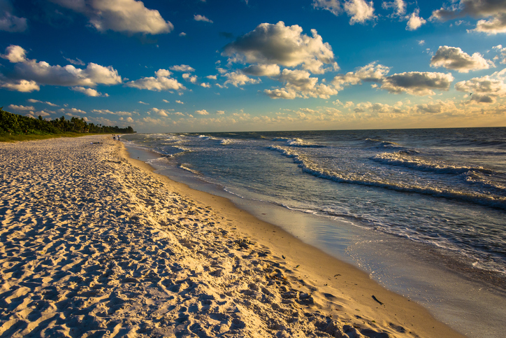 Evening light at the beach in Naples, Florida.
