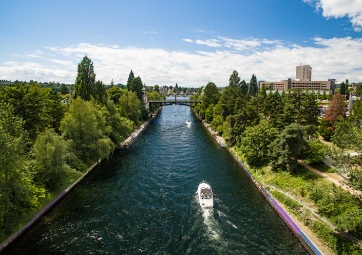 Montlake Cut Canal in Lake Washington Connecting to Lake Union in Seattle, WA