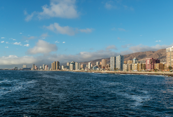 view of downtown city of Antofagasta in northern Chile