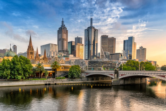 Looking across the Yarra river from Southbank to the city of Melbourne