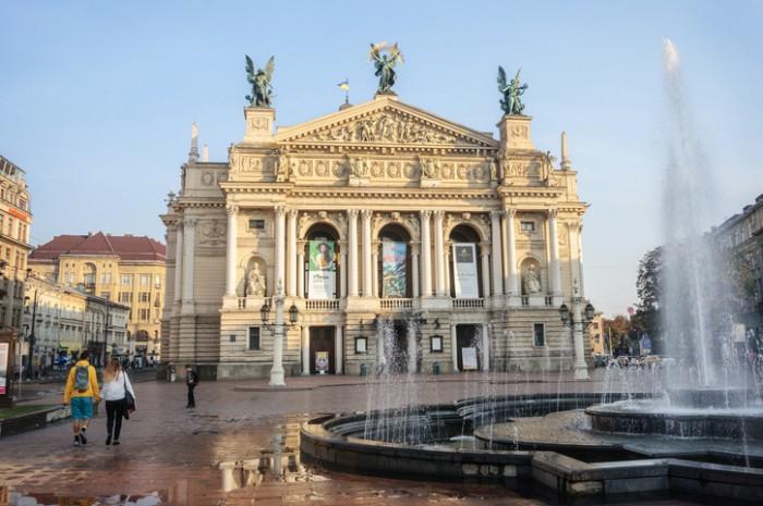 Lviv, Ukraine - September 7, 2016: National Academic Opera and Ballet Theater named Krushelnytska