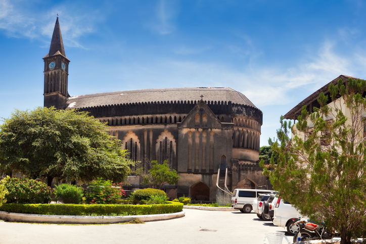 """Panorama of Anglican cathedral Christ Church, Stone Town, Zanzibar, Tanzania"""