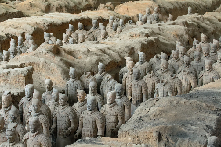 Terracotta Army is a collection of terracotta sculptures depicting the armies of Qin Shi Huang, the first Emperor of China. 210-209 BC Taken 24 Mar 2014