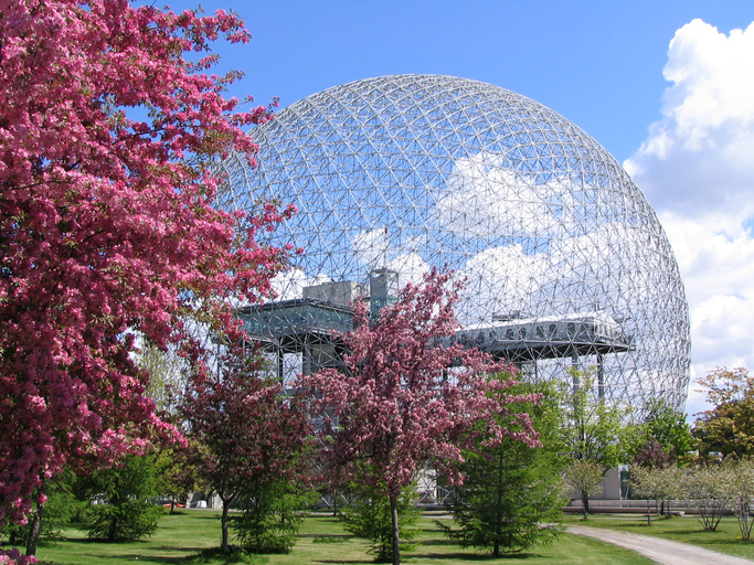 Biosphere in spring - Montreal, Jean Drapeau Park - Quebec, Canada
