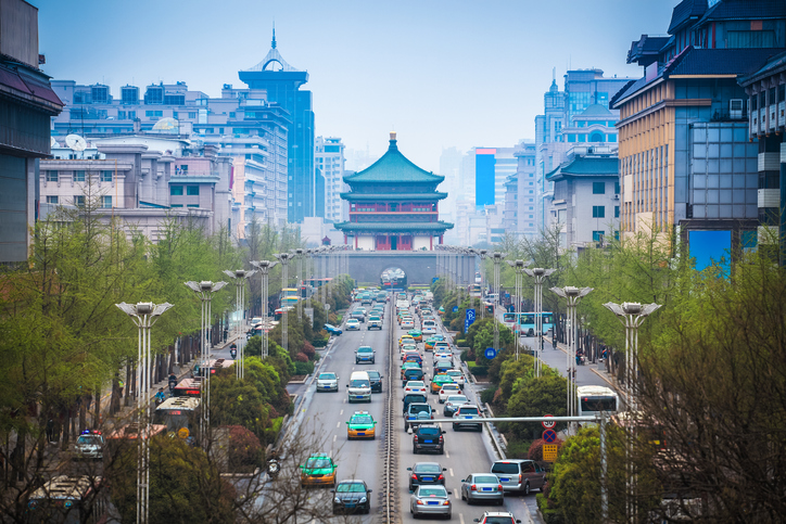 the street scene of xian,bell tower in the center of ancient city,China