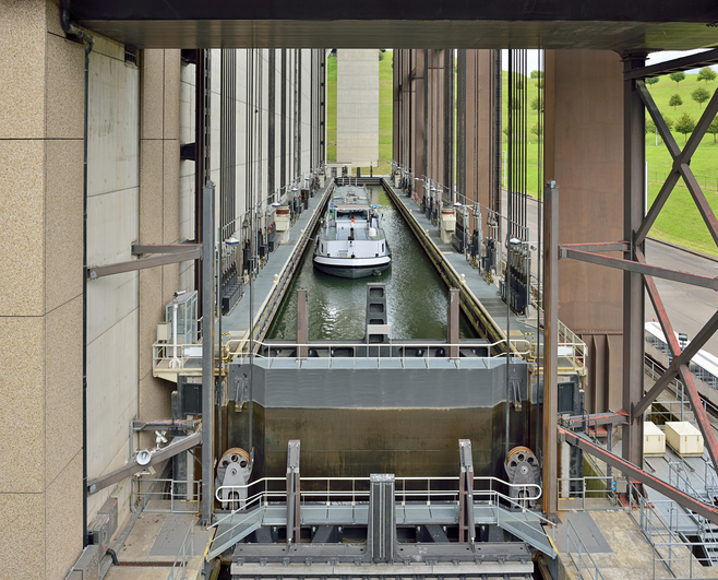 Strepy-Thieu boat lift on the Canal du Centre in municipality Le Roeulx, Walloon, Belgium during lifting of a boat