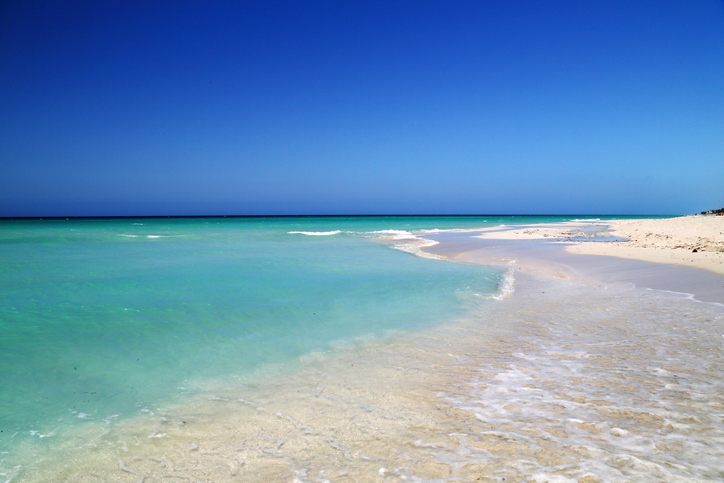 The Caribbean Sea from Varadero, more than 20km of white sandy beaches on Cuba