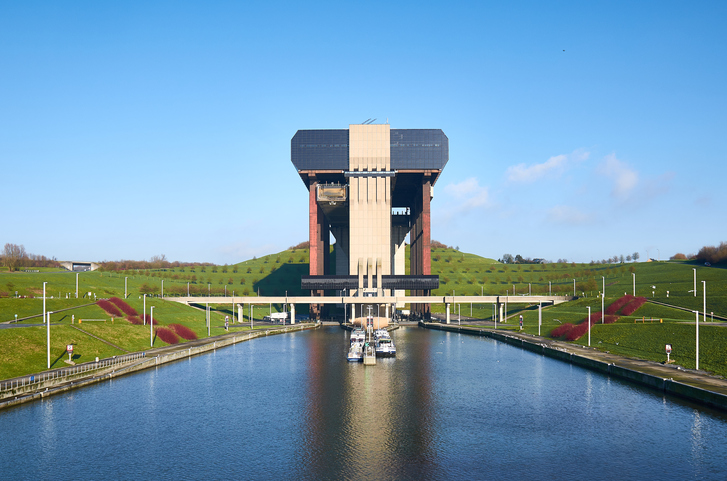 Strepy-Thieu boat lift on the Canal du Centre in municipality Le Roeulx, Walloon, Belgium