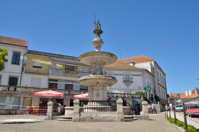 Ovar, Portugal - August 6, 2015: People in a plaza located in Ovar, Northern Portugal