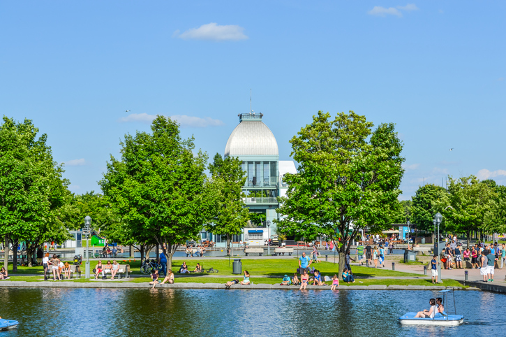 Montreal, Canada - June 13, 2015: Pavillon du bassin Bonsecours. People may be seen around.