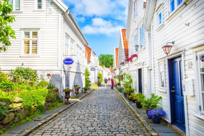 Stavanger, Norway - July 09, 2015: Street with white wooden houses in old centre of Stavanger