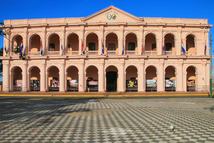 Asuncion, Paraguay - December 26, 2014: Town Council building (Cabildo) in Asuncion, Paraguay. It is home for Cultural Center of the Republic of Paraguay.